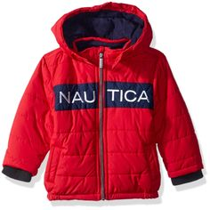 Nautica Baby Boys Signature Puffer Jacket with Storm Cuffs, Arthur Red, 12 Months *** Make sure to have a look at this incredible product. (This is an affiliate link). Baby Boy Jackets, Snow Suit, Puffer Jackets, Baby Boy Outfits, Blue Stripes, Hooded Jacket, Zip Ups, Rain Jacket, Windbreaker