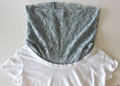 superbe col en dentelle sur t shirt