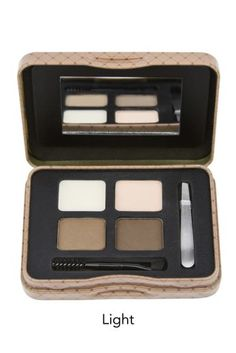 """Girl Cosmetics Inspiring Brow Kit in Dark in the October """"Regina"""" Box includes 2 brow powder shades, a highlighter, clear brow wax, tweezers and a spoolie/angled brush. Everything you need for beautiful brows."""