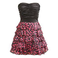 Wielowarstwowa Dot Drukuj Tube Dress - Odzież damska i Odzież - Chic... ❤ liked on Polyvore