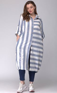 Платье SOVA арт. 11044 полоска голубая Nice Dresses, Casual Dresses, Fancy Kurti, Baby Cardigan Knitting Pattern, Striped Shirt Dress, Mode Hijab, Blouses For Women, Fashion Outfits, Boho