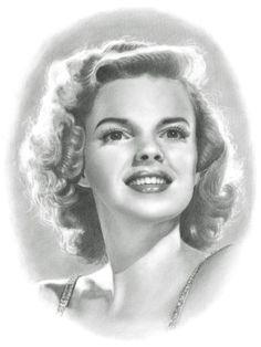 Judy Garland Pencil Portrait Drawing Print