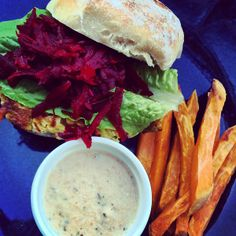 Veggie burger with sweet potato fries and satay sauce from the I Quit Sugar program. #iquitsugar