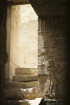 Ancient doorway, Ptolemaic Temple of Hathor at Deir el-Medina, Egypt Ancient Egyptian Architecture, Ancient Egyptian Art, Ancient Ruins, Ancient Artifacts, Egyptian Temple, Ancient Egypt History, Ancient Greece, Egyptian Mythology, Egyptian Goddess