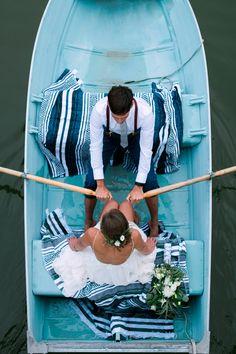Blue Row Boat Wedding Photography Ideas www.nicolesarah.com