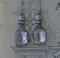 Amethyst Skies  assemblage earrings   crownedbygrace.etsy.com