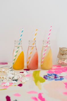 Such a fun way to serve drinks at our next party! Fruity Frozen Sips / Oh Joy Cocktails, Party Drinks, Cocktail Drinks, Cocktail Recipes, Drink Me, Catering, Brunch, Yummy Drinks, Party Time