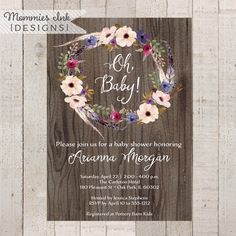 Watercolor Wreath Baby Shower Invitation, Watercolor Floral Baby Shower Invite, Watercolor Shower Invitation,Rustic Invitation,Floral Invite by MommiesInk on Etsy https://www.etsy.com/listing/490674716/watercolor-wreath-baby-shower-invitation