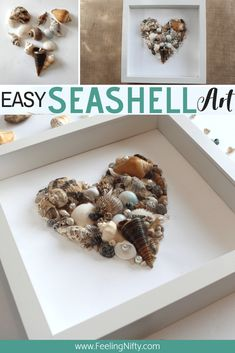 Seashell Art - Fast and easy DIY for your home - Shell Ku .- Seashell Art – Fast and easy DIY for your home – Shell art DIY – simple craft! Make this beach craft for your beach inspiri Cute Diy Crafts, Decor Crafts, Crafts To Make, Art Crafts, Diy Crafts For Home, Craft Ideas For The Home, Quick And Easy Crafts, Diy Home Decor Easy, Cute Diys