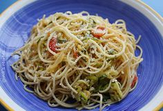 Angel Hair with Zucchini and Tomatoes | Skinnytaste-a light lunch, great side dish or add a seafood or chicken for a main dish for protein