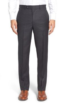 Di Milano Uomo Flat Front Solid Wool Trousers