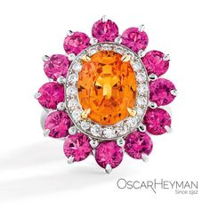 A ray of sunshine in Scottsdale by #OscarHeyman  #highjewelry #colorful #ring #phonecian #spinel