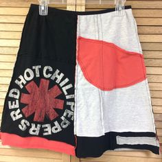 Womens Upcycled Skirt, Red Hot Chili Peppers, Size Medium