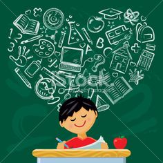 He Loves to Learn Royalty Free Stock Vector Art Illustration