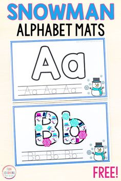 Free printable snowman alphabet writing mats for winter alphabet centers or Christmas centers. A fun handwriting activity for preschool and kindergarten. Winter Activities For Kids, Printable Activities For Kids, Alphabet Activities, Preschool Activities, Free Preschool, Preschool Printables, Preschool Winter, Preschool Alphabet, Alphabet Crafts