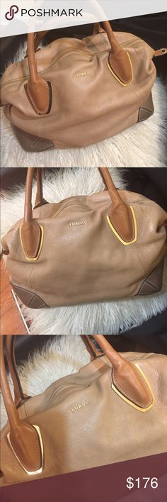 Beautiful furla purse leather butter soft Brown and Tan color super soft pre-loved  great condition zipper closure gold hardware bottom feet strap handles 7in width 13 inches 9 length note  last (pic) 2 small ink spots not noticeable but I had to point it out Furla Bags Satchels