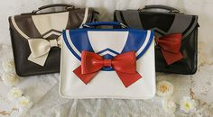 Super Kawaii Bow Tie Bags in Blue and White, Black, and Coffee.