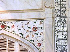 "quranclub:""Close-up of Taj Mahal Arabesque and Calligraphy Mughal Architecture, Historical Architecture, Art And Architecture, Islamic Art Pattern, Pattern Art, Taj Mahal Interior, Courtyard Design, Persian Pattern, Indian Art Paintings"
