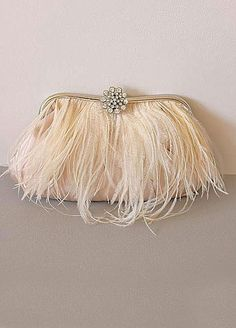 LEVINA  Crystal and Ostrich Trimmed Clutch by ORNENT on Etsy