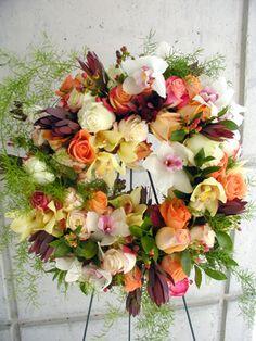 Funeral Flower Arrangements, Memorial Flowers, Sympathy Gifts, Fuji, Floral Design, Floral Wreath, Wreaths, Home Decor, Floral Crown