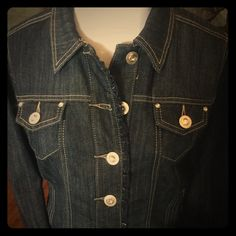 NWOT C&B Denim Rhinestone & Ruffle Jacket - S Brand new, perfect condition dark wash denim. Silver tone buttons and studs with large rhinestones.  Pretty ruffled detail at front closure. Cotton/Poly/Spandex for great shape. Christopher & Banks Jackets & Coats Jean Jackets