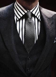Black and white custom dress shirt...dapper!