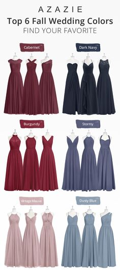 Top 6 Fall Wedding Colors Top 6 Azazie fall and winter wedding colors: cabernet bridesmaid dresses, burgundy bridesmaid dresses, dark navy bridesmaid dresses, stormy bridesmaid dresses, vintage mauve Burgundy Bridesmaid Dresses Long, Azazie Bridesmaid Dresses, Bridesmaid Dress Colors, Azazie Dresses, Navy Blue Bridesmaids, Vintage Bridesmaid Dresses, Color Mauve, Navy Wedding Colors Fall, Wedding Navy