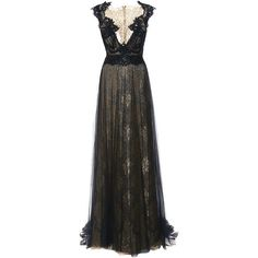 Marchesa Engineered Metallic Lace Column Gown With Tulle Overlay ($7,995) ❤ liked on Polyvore featuring dresses, gowns, black floor length dress, black lace gown, black lace dress, black tulle dress and black ball gown