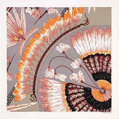 """Brazil II Hermes vintage silk twill scarf, hand rolled, 28"""" x 28"""" Color : white/ash grey/brown  Designed by Laurence Bourthoumieux  Ref. : H982603S 25"""