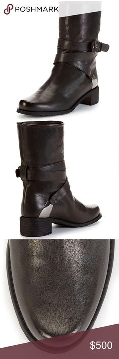 """Stuart Weitzman Ranger Boot Size 5.5 BRAND NEW Stuart Weitzman Ranger boot Color: Black Napa Size: 5.5  Bold buckles and a gathered side give Stuart Weitzman's Ranger boot—a classic moto silhouette with O-ring ankle harness—a modern edge. Nappa leather upper 1.75-inch stacked heel Silvertone metal heel accent Rounded toe Leather insole Rubber sole Made in Spain Heel Height: 1.75 Shaft: 8"""" Circumference: 11"""" Fit: True to Size Outsole: Leather Upper: Nappa Leather Made in: Spain Stuart…"""