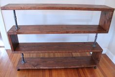 Industrial Wood Shelf, TV Stand, Bookcase, Storage Rack by NativeDen on Etsy https://www.etsy.com/listing/232154645/industrial-wood-shelf-tv-stand-bookcase