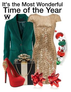 It's the Most Wonderful Time of the Year by wearwhatyouwatch on Polyvore featuring polyvore, fashion, style, Badgley Mischka, Red Circle, Kate Spade, Kim Rogers, Bling Jewelry, wearwhatyouwatch and MerryChristmas