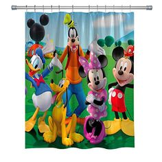Elite Etspy Mickey Mouse With Donald Duck Disney Shower Curtain - Shower Curtains Boutique Disney Shower Curtain, Shower Curtains, Mickey Mouse Clubhouse, Minnie Mouse, Curtains For Sale, Donald Duck, Curtain Ideas, Disney Characters, Boutique