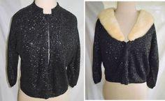 Vintage 60s Sequin Black Crop Evening Jacket Shrug Bolero White Mink Collar 38 Couture Outfits, Couture Dresses, Black Wardrobe, Sequin Jacket, Sequin Party Dress, Cool Sweaters, All Black, Fur Coat, Sequins
