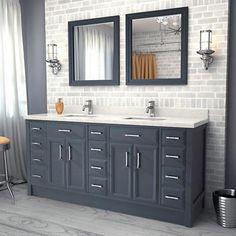 "Calais 75"" Pepper Gray Double Sink Vanity by Studio Bathe"