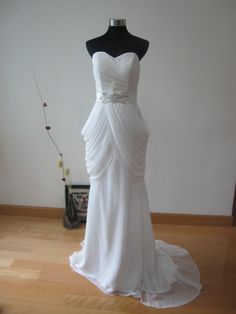 Grecian Mermaid Style Chiffon Wedding Dress. $250.00, via Etsy.