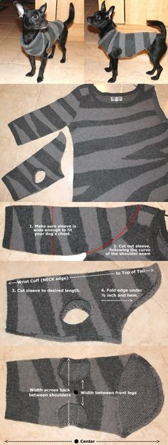 Dog Clothes - How To Make A Chic Dog Sweater - DIY
