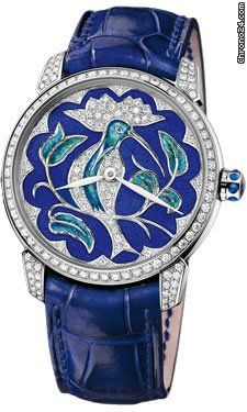 Ulysse Nardin Classico Lady White Gold $26,695 35mm 18K white gold case set with diamonds, diamond bezel, Huppe motif jewellery enamel dial set with diamonds dial, self-winding movement