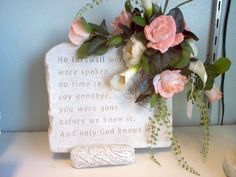 Small Memory Stone with silk flowers