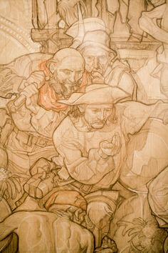 These are some detail shots of a larger layout sketch Dean Cornwell put together for the floor rotunda mural at the L. The sketch is part of the Siqueiros exhibit currently r. American Illustration, Love Illustration, Amazing Drawings, Art Drawings, Figure Drawing, Painting & Drawing, Dean Cornwell, Central Library, New York Art