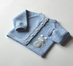 Blue baby sweater with mouse light blue merino jacket for baby