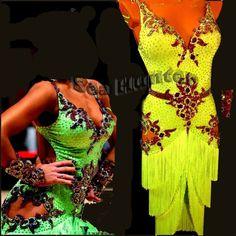 Ballroom Latin Cha Cha Samba Dance Dress US 10 UK 12 Yellow Lace Fringing