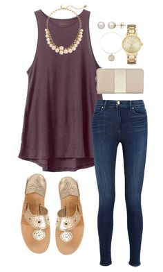 """Trying new layouts...it's a struggle"" by valerienwashington on Polyvore featuring Jack Rogers, RVCA, J Brand, Kate Spade, Alex and Ani, Honora, women's clothing, women's fashion, women and female"