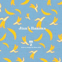 mizeedraw / banana / pattern / blue / yellow