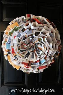 Your Stuff, Only Better: Paper Wreaths Diy Wreath, Door Wreaths, Paper Wreaths, Wreath Ideas, Office Ideas For Work, Arts And Crafts, Paper Crafts, Paper Cones, Monogram Letters