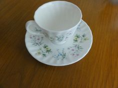 Minton porcelain Spring Valley Coffee Cup saucer pink yellow flower made England