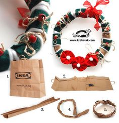 DIY Christmas Wreath by paper bag IKEA