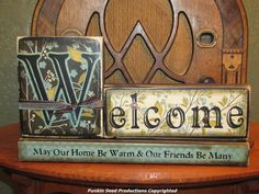 Customized Welcome Sign - Wedding and  House Warming Word Blocks - May Our Home Be Warm & Our Friends Be Many
