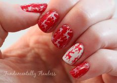 Reindeer nail art with MoYou Festive Collection 03 Stamping Plate
