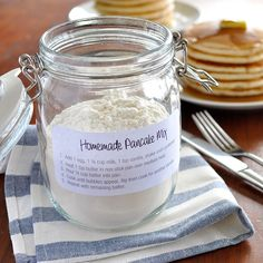 Homemade pancake mix, ready to go. Add wet ingredients, shake, then pour into pan.